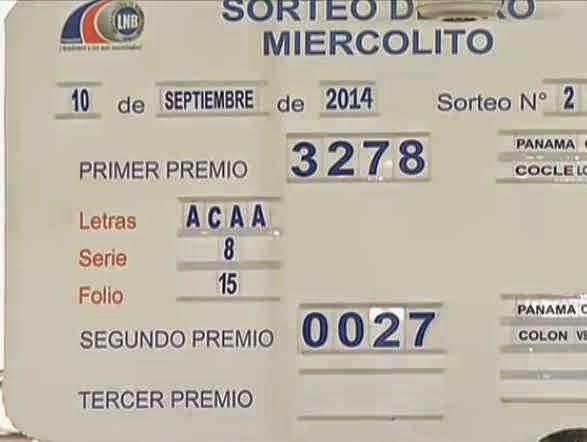El Cafe de Oscar - Resultados de las Loterias y pronosticos de hoy.: Resultados Loteria Nacional de Panama miercoles 10-9-14..