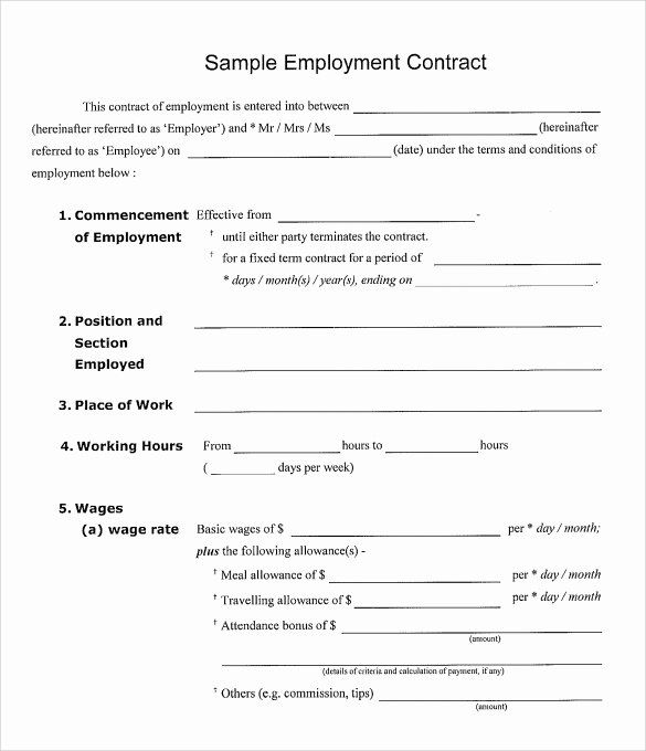 Simple Employment Contract Template Free Beautiful Basic Employee Contract Template Templates Resume Contract Template Contract Lettering