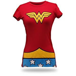 Golden tiara not included.  Whether you love or loathe the Jim Lee direction for Wonder Woman's costume, we can all agree on one thing: she kicks serious butt. When you have a need to do the same, don this shirt. Then you've given the enemy notice. The invisible jet is up to you.