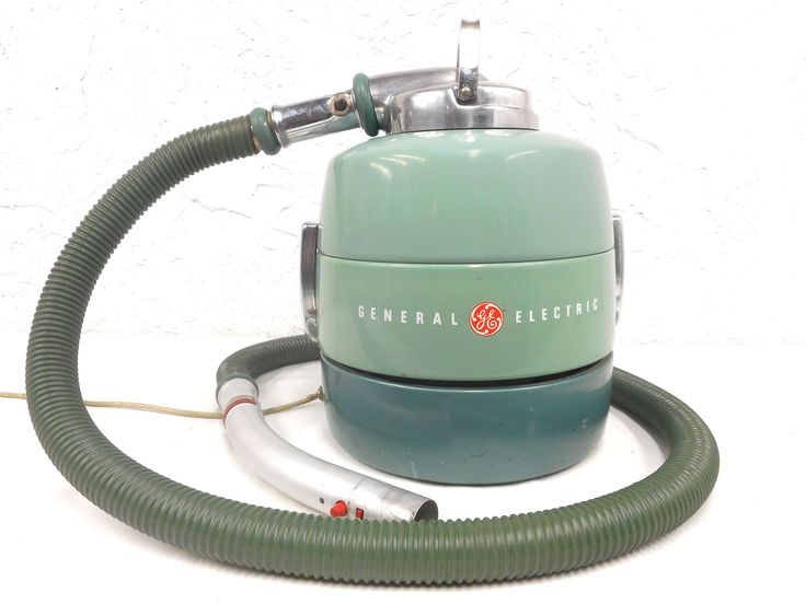 """Vintage Mid Century Canister Vacuum Cleaner 13"""" by General Electric, Turquoise, Chrome, Original Hose, Working"""