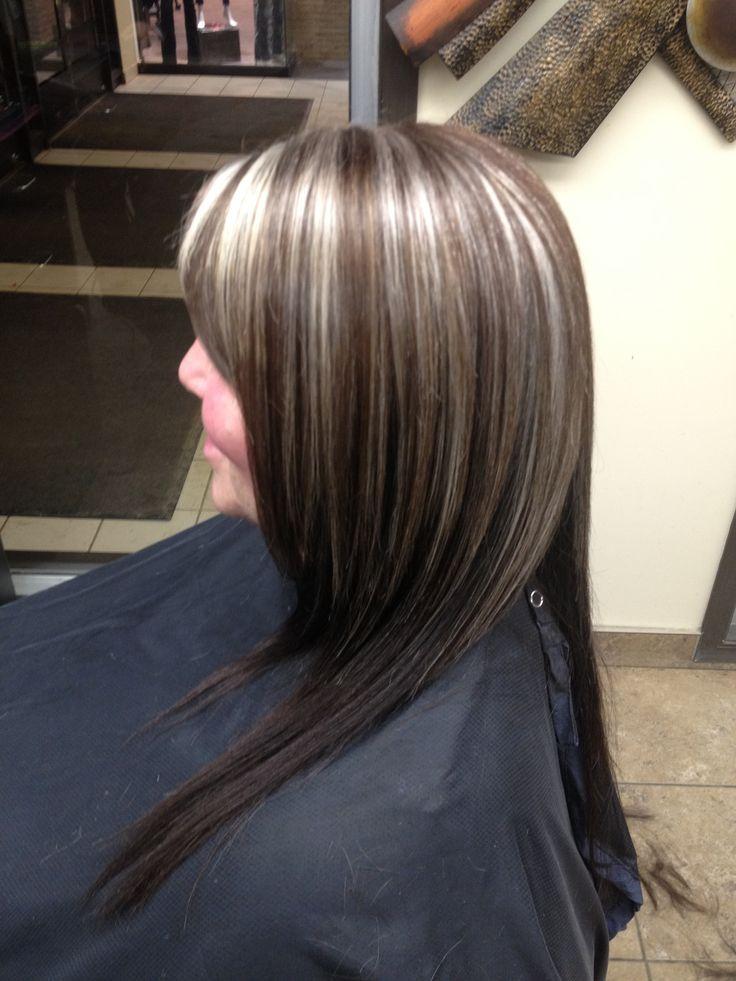 Here's another one of my colors . Perfect for this coming fall , dark brown base with platinum highlights (I wanted to use her natural grey color for the highlights) very stylish , outside of the box for her but she loved it !