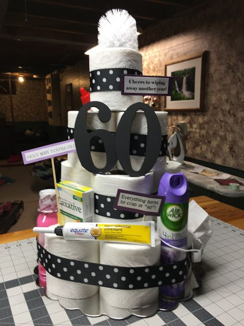 Toilet Paper Cake Gag Gift Happy 60th Themed Presents