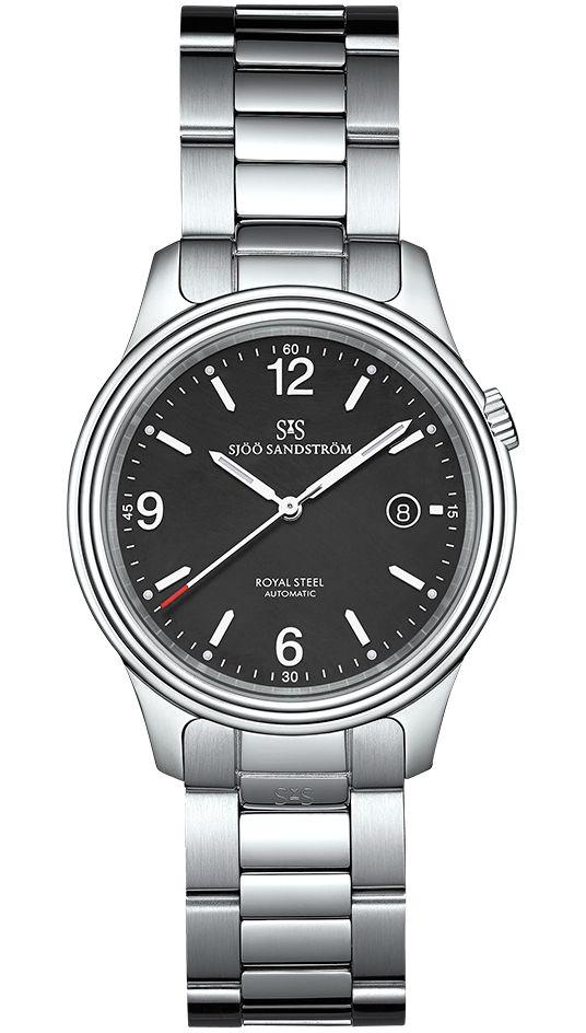 Royal Steel Classic 41 mm, black dial with steel bracelet. #sjöösandström #sjoosandstrom #watch #watches #sweden #classic