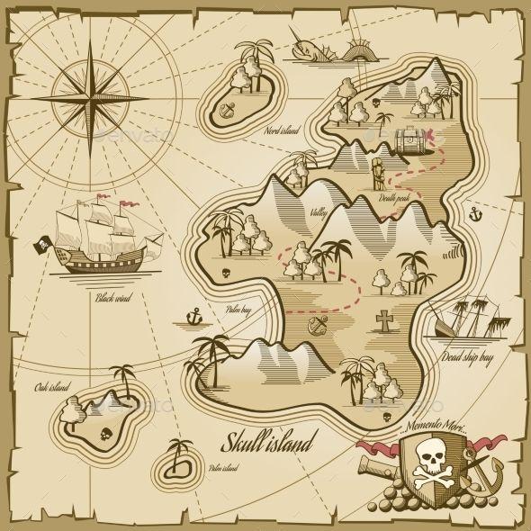 Treasure Island Vector Map In Hand Drawn Style Treasure Island Map Pirate Maps Treasure Maps