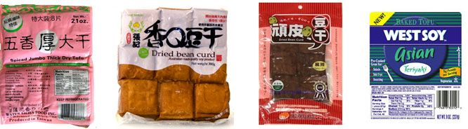"Dry spiced tofu (dou fu gan) is tofu that has been marinated in some sort  of spice mixture (often five-spice) and either pressed under great pressure  or baked to remove as much moisture as possible. This gives it an extremely  dense and ""meaty"" texture.  Where do I find dry spiced t"