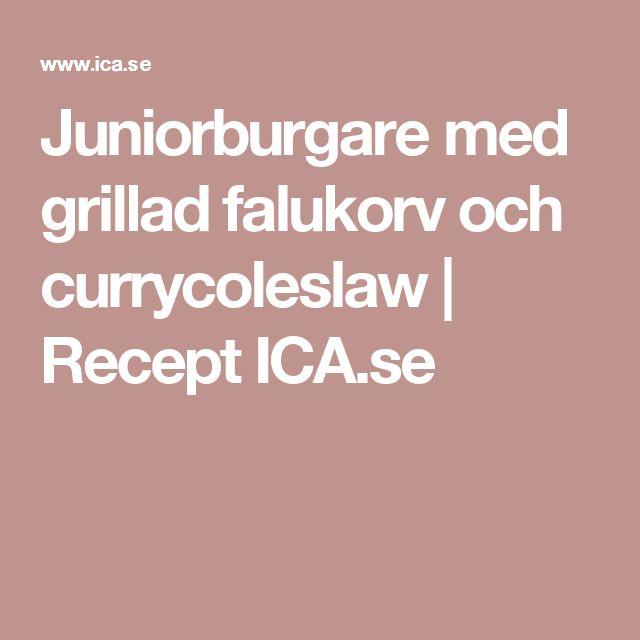 Juniorburgare med grillad falukorv och currycoleslaw | Recept ICA.se