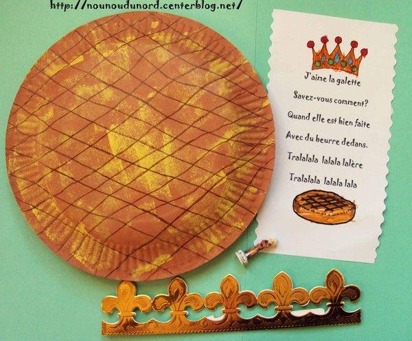 galette des rois réalisée avec 2 assiettes en carton