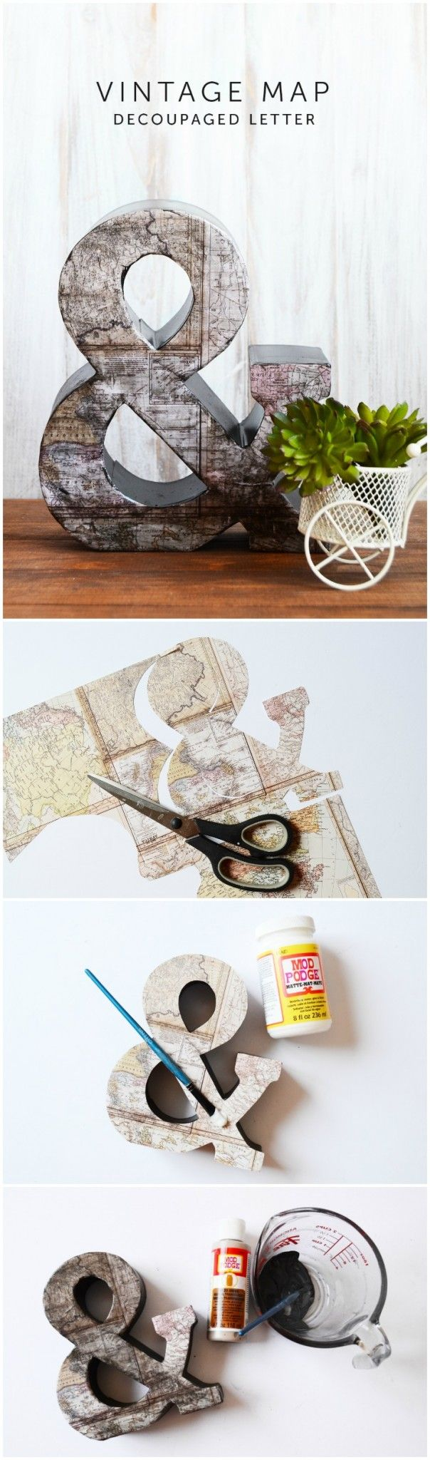 Use Mod Podge, paint, and map scrapbook paper to make this unique decoupage letter for home decor. It's easy to create your own with a fun vintage effect! via @modpodgerocks