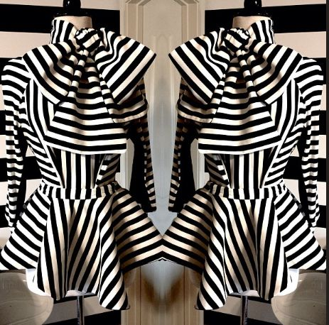 0 Michelle Williams's Essence Music Festival Nicci Hou Striped Bow Tie Peplum Blouse