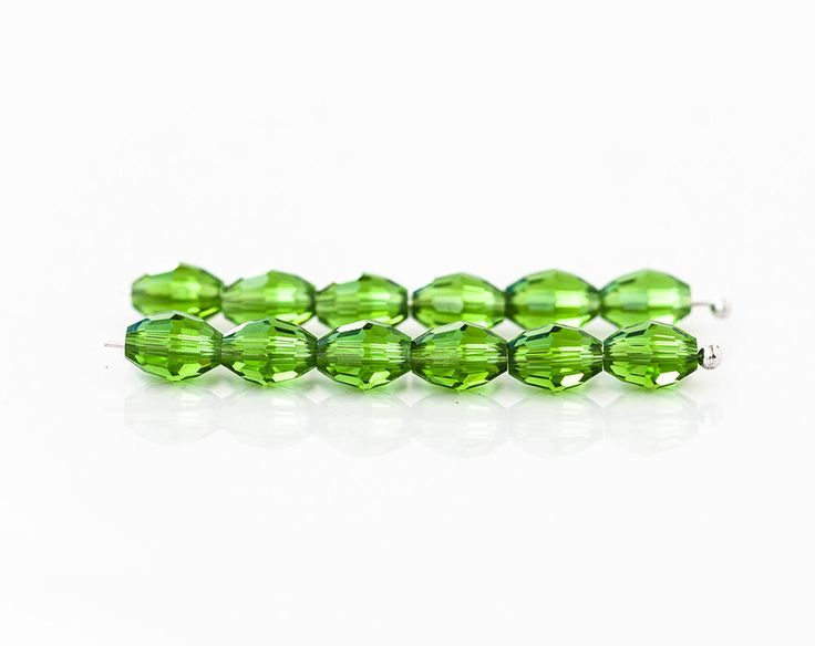 2562_Green grass beads 8x6 mm, Transparent beads, Oval beads, Green glass beads, Сrystal beads, Faceted jewelry beads, Rice crystals_50 pcs. by PurrrMurrr on Etsy