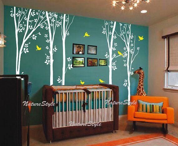 Birch tree wall decals children baby boy girl nursery wall for Birch tree mural nursery
