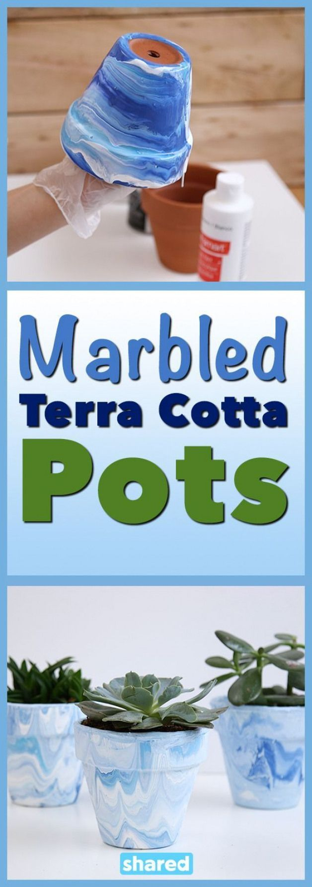 Marbled Terra Cotta Pots #garden #DIY #painting #…