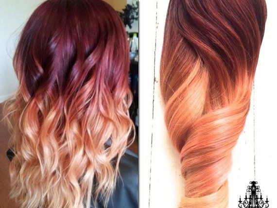 84 best ombre hair extensions images on pinterest black hair red violet peach ombre hair auburn ombre georgian sunset ombre hair red violet with a slow fade to peach and blonde pmusecretfo Choice Image