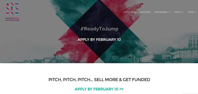STARTUP PORTO ACCELERATOR - aplly until 10 FEV 2017   Startup Porto Acceleratorboosts startups with disruptive and technological profile. It is a hands-on programme focused on empowering entrepreneurs for a quick process of growth hacking and for an effec