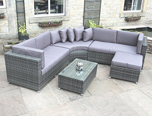 Awesome Rattan Outdoor Curved Corner Sofa Set Garden Furniture in Grey