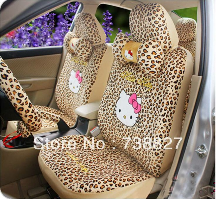 18pcs A Set Leopoard Hello Kitty Seat Cover Car Interior Decoration