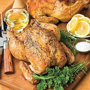 Marian's Easy Roast Chicken Recipe from myrecipes.com - just chicken, salt, pepper & olive oil.
