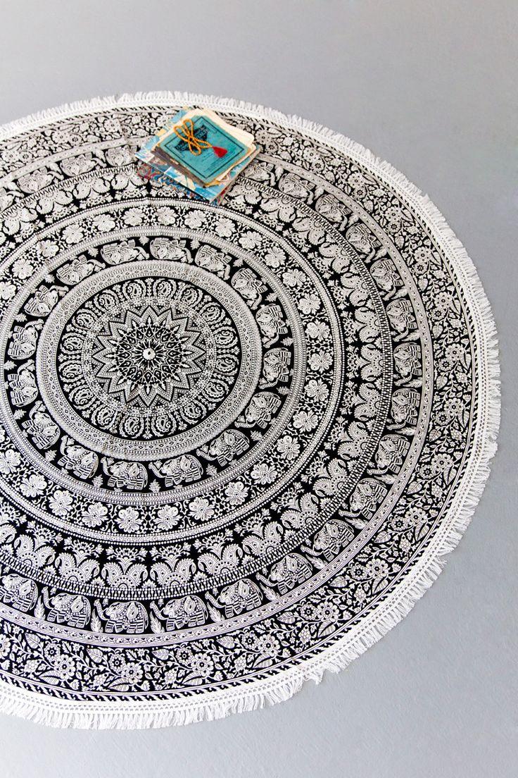 Tree of Life   Round Elephant Mandala Throw