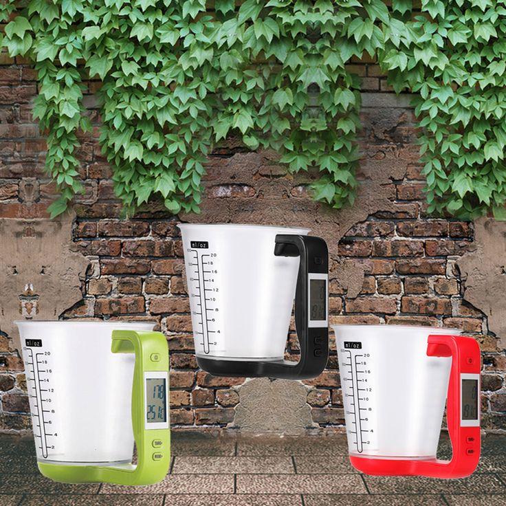 Measurement Digital kitchen tools Electronic Measuring Cup Scale Household Jug Scales with LCD Display Temp 16x12.5x13.5cm cake *** Encontrar más información haciendo clic en la VISITA botón