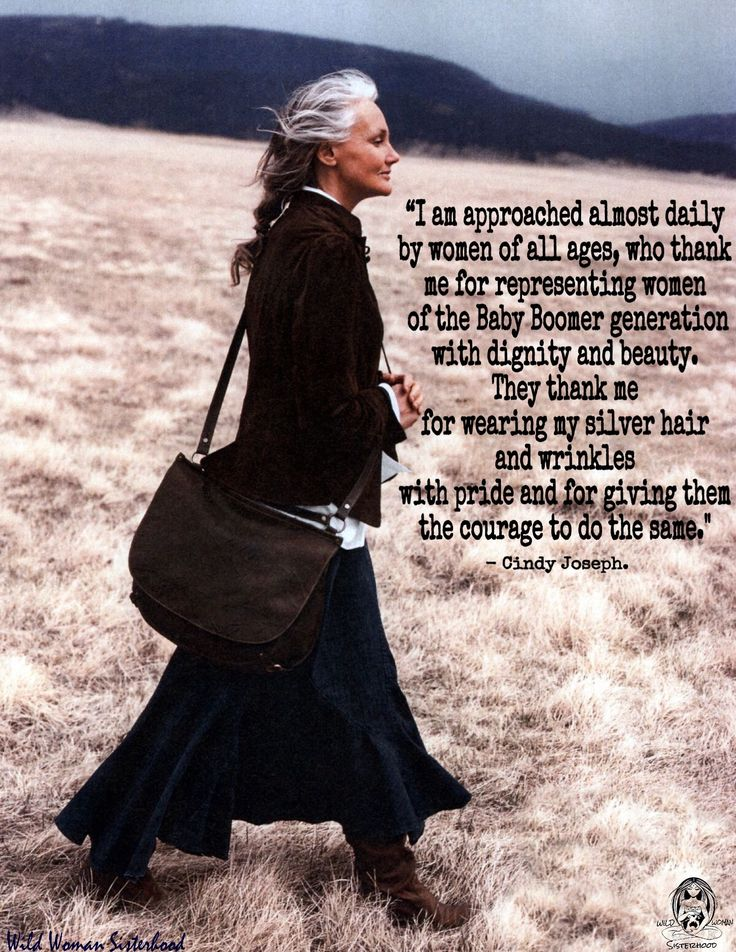 """""""I am approached almost daily by women of all ages, who thank me for representing women of the Baby Boomer generation with dignity and beauty. They thank me for wearing my silver hair and wrinkles with pride and for giving them the courage to do the same."""" ~Cindy Joseph. WILD WOMAN SISTERHOODॐ #WildWomanSisterhood #ageingabundantly #embracingthecrone #wildwomanteachings"""