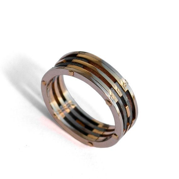 Gold Men's Band - 18K Yellow Gold and Oxidized Silver by Doron Merav