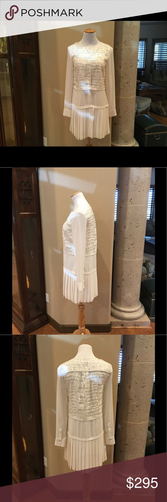 Alexis Long Sleeve dress Long sleeve ivory dress. The bodice is sheer with embroidery, drop waist with pleats and lined throughout. Gorgeous dress. Never been worn. Excellent condition ☺️ Alexis Dresses Mini