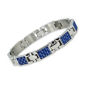 Mens Titanium Bracelet   Blue Carbon Fiber Inlay