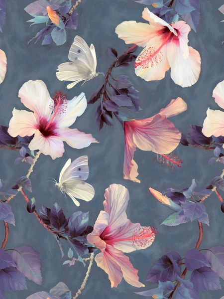 Butterflies and Hibiscus Flowers - a painted pattern - by Micklyn