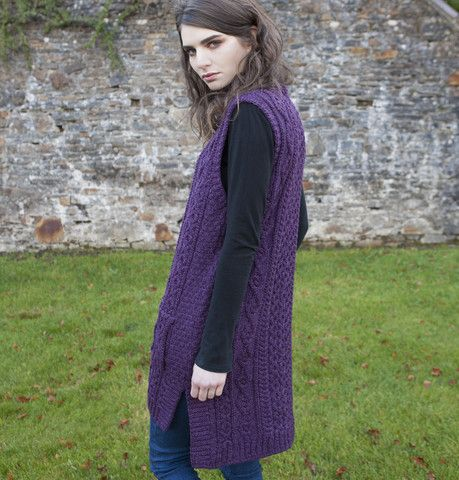 Sleeveless Aran Zip Vest - Purple