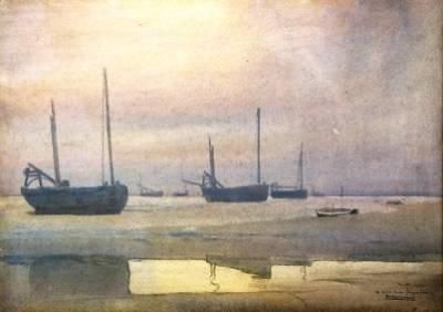 """Lowtide at Dusk by Isidore Rosenstock. CIRCA: 1909 DIMENSIONS: 10 1/4"""" h x 14 1/4"""" w PRICE: $5,400"""