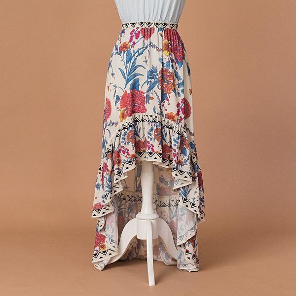 Maxi falda de asimetría floral