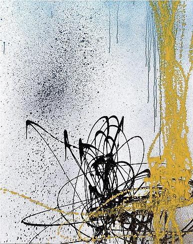 Hans Hartung, T1989-A4, 1989.  Acrylic on canvas, 71 x 56 inches.  Courtesy of Cheim & Read.