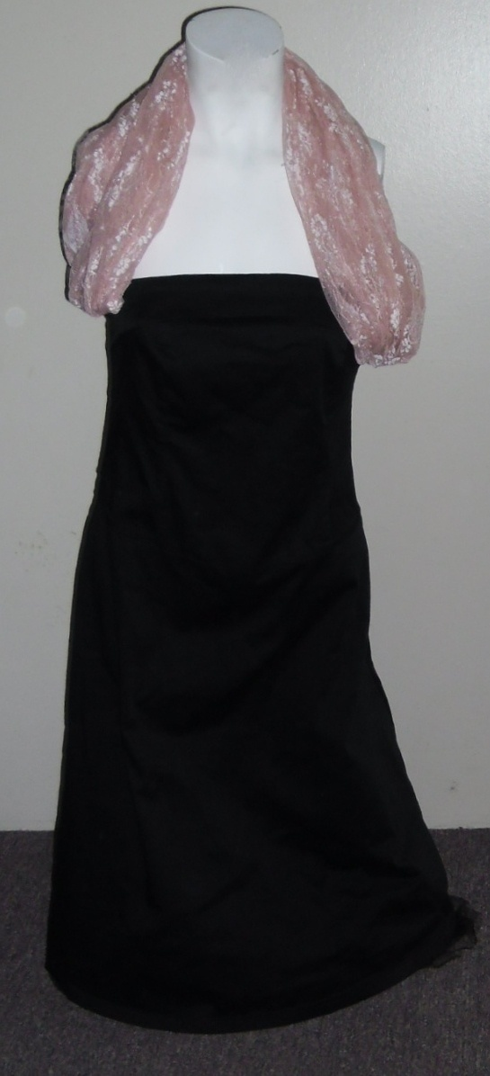 Lovely Tulle Cotton and Lace Evening Dress in Black and Pink