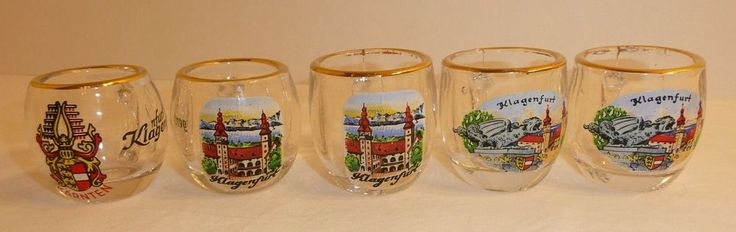 Lot of 5 Shot Glasses from Klagenfurt Austria - Shot Glass Mugs / Cups - Karnten