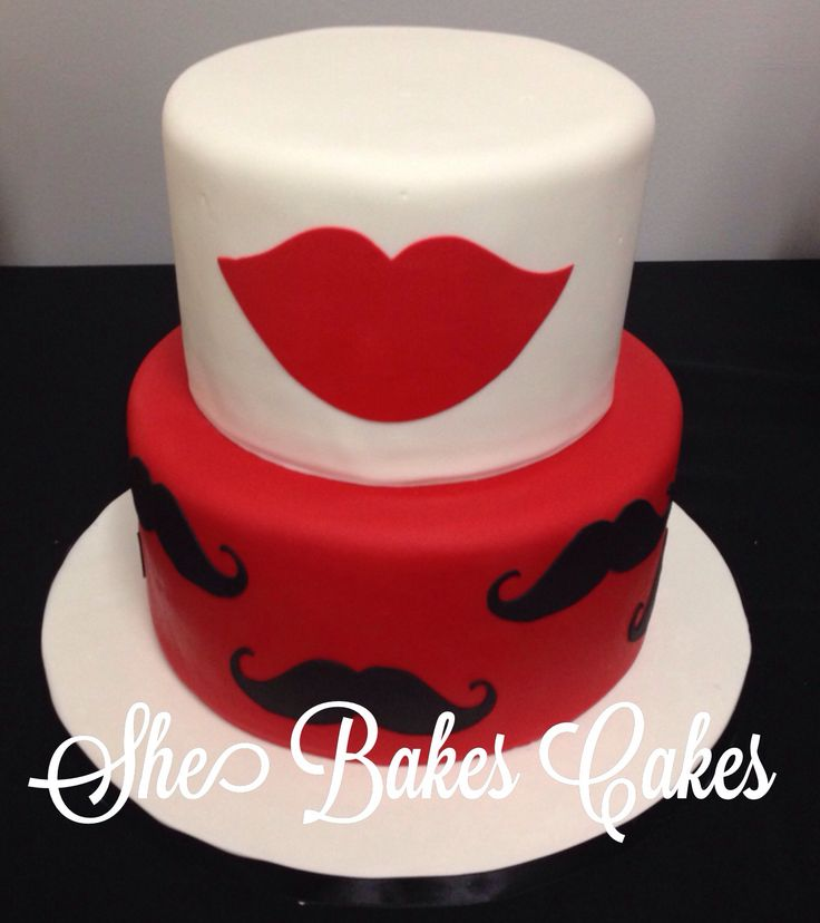 Mustaches & lips themed baby shower cake!