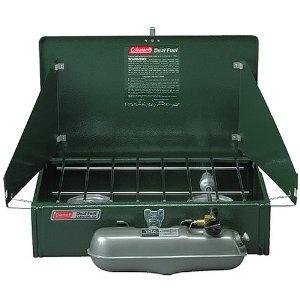 Coleman 2 Burner Dual Fuel Compact Liquid Fuel Stove. Standard, but proven track record.