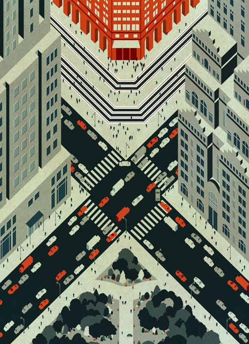 City by Thomas Boswell (2014) a freelance illustrator and designer from the UK. www.thomasboswell.co.uk #illustration #cityscape