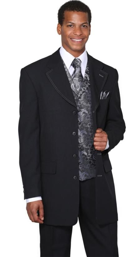 SKU#RC8934 Mens Black Silver Fancy Vest 3 Piece Fashion Suits: discount mens clothes for sale $149 Mens Discount Suits By Style and Quality Long Zoot Suits