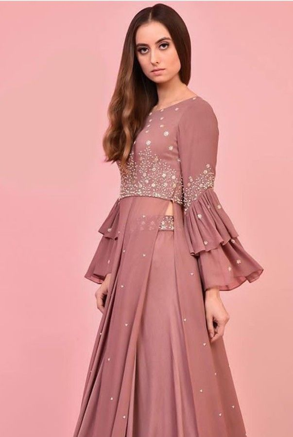 199fa389e0317 Beautiful Georgette-Silk Dress. Embellished with hand embroidery work and  modern silhouettes. #dress #Kayradelhi #dress #silhouettes #indowestern  #Gown