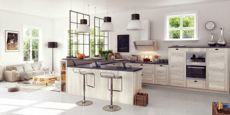 Cuisine ouverte en u disposant de nombreux rangements for Modele amenagement cuisine ouverte