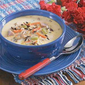 Taste of Home Cheesy Ham 'n' Rice Soup. Cream cheese instead of the Velveeta?