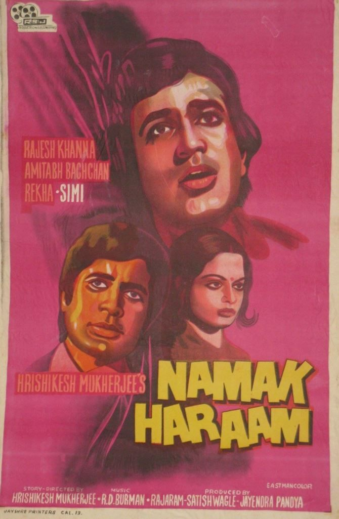 "Namak Haraam (1973). This Rajesh Khanna, Amitabh Bachchan and Rekha starer is a cult classic. Direction was by Hrishikesh Mukherjee. Music by RD Burman had superb songs. ""Diye Jalte Hai, Phool Khilte Hai"", ""Nadiya se dariya, Dariye se sagar"" and ""Main Shayar Badnaam"", are still popular."