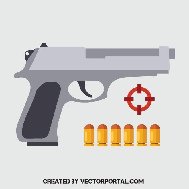 Handgun With Bullets Bullet Vector Images Guns Bullet