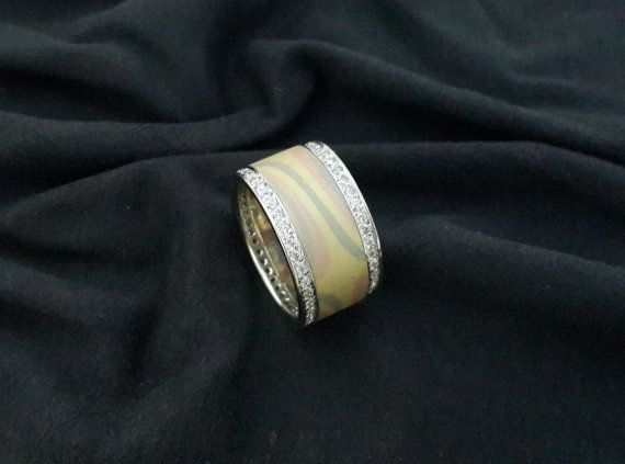 NICKEL FREE Mokume Gane 14 K 096 VS Diamond 3 by EbruliAlyans, $1890.00