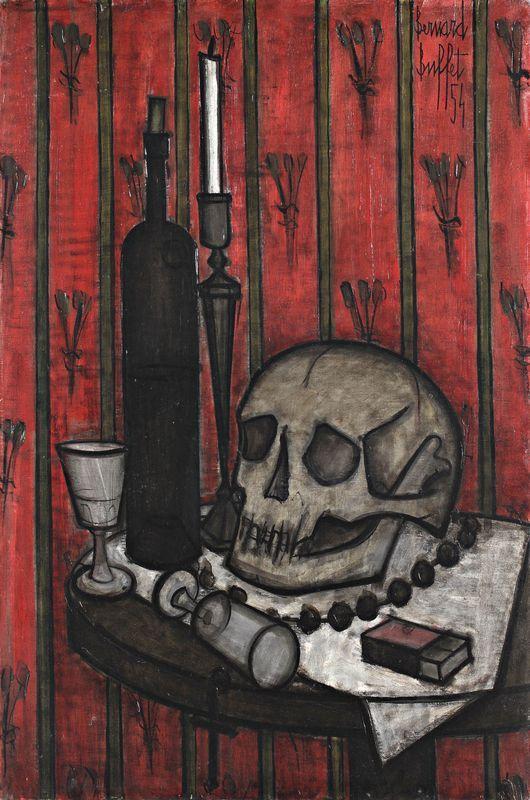 Bernard BUFFET  Vanité, 1954  81 cm 54 cm  Huile sur toile.  Signé et daté 54 en haut à droite.  Porte au dos le cachet du marchand de toile Blanchet et le cachet de la Galerie Drouant David à Paris, ainsi que le numéro M65.