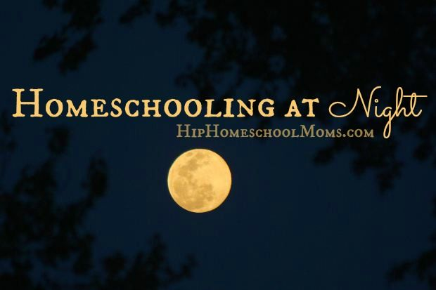Homeschooling at Night | Hip Homeschool Moms  If you've been struggling with your current homeschooling rhythm during the day, maybe a change in routine might help. We started homeschooling at night and it's been so much better! Read how and why it's working so well for our family. -Megan Spires