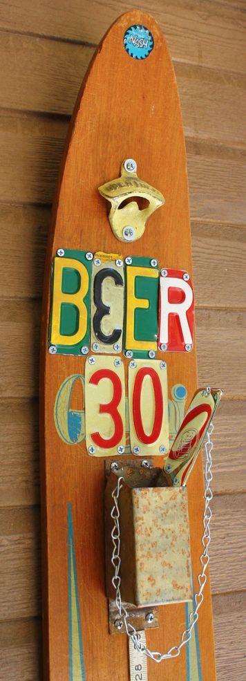 Vintage Water Ski Turned Beer & Soda Opener Station!