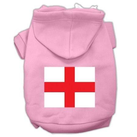 St. George's Cross (English Flag) Screen Print Pet Hoodies Light Pink Size XS (8)