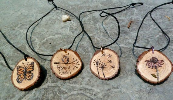 Tree ring necklace (Monarch Butterfly, Purple coneflower, Owl, dandelion, or tree) by EllymayflyCrafts, $8.00