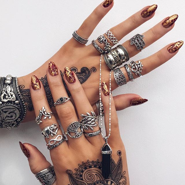 Bohemian ring are the real deal if you're eager to reveal your Hippy chic side. Vintage Beach Boho Ring Set, long red nails,Elephant Ring